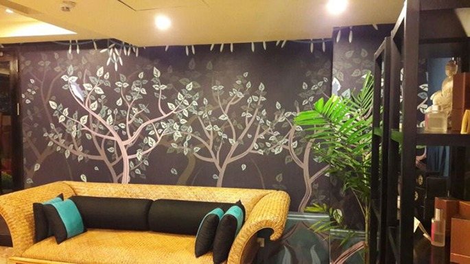 wallpaper floral oleh imural di angsana spa & resort bintan