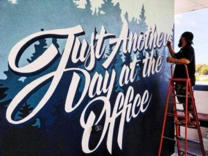 "Typography Mural Ideas ""Just Another Day at The Office"""