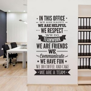 Black and White Mural for Office Typography