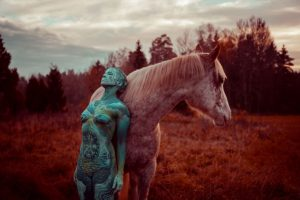 Women and a Horse Bodypainting by Vilija Vitkute