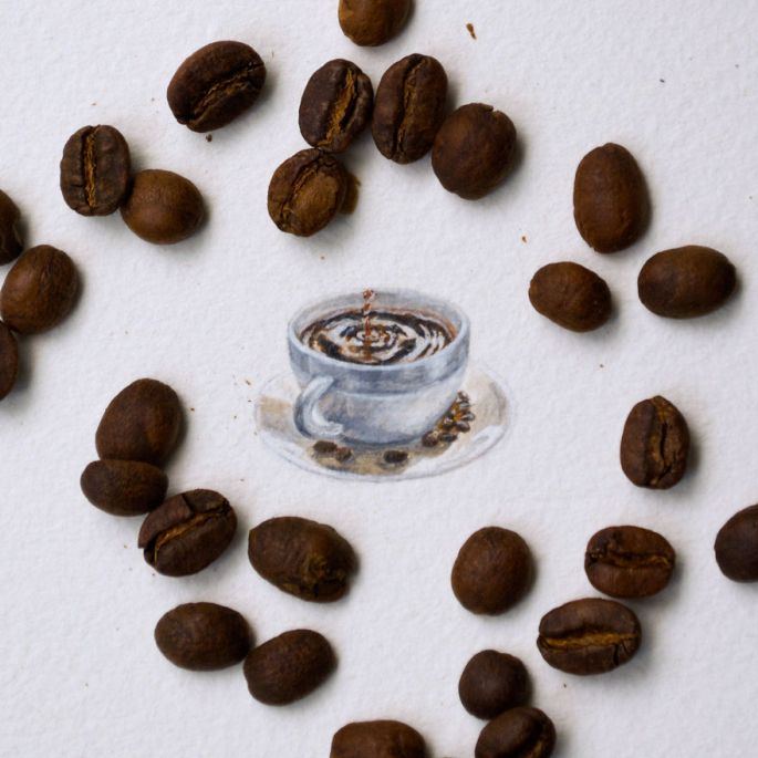 Watercolor Miniature of Coffee