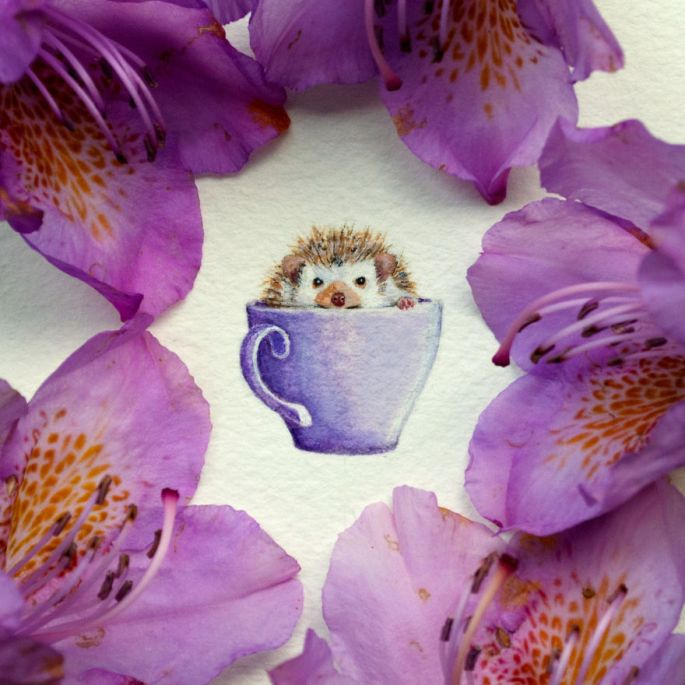Watercolor Miniature of Hedgehog