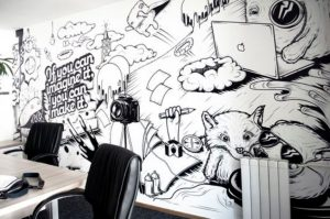 Cute Black and White Mural for Office