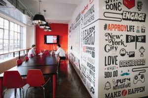 Black and White Mural for Office with Red Accent