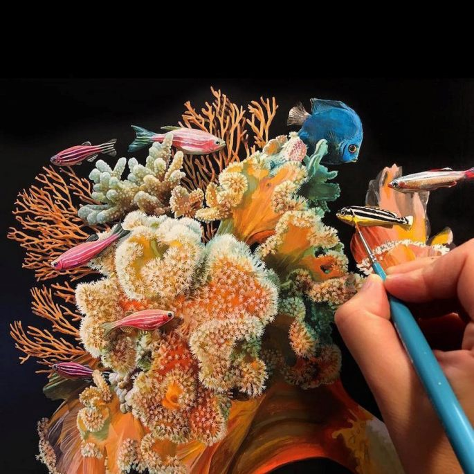 The Process of Making Hyperrealistic Painting by Lisa Ericson