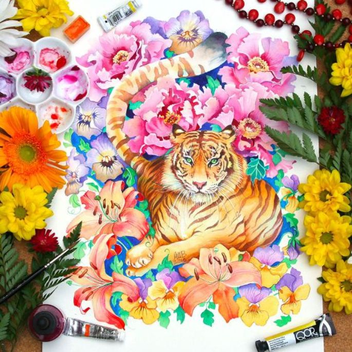 Anna Bucciarelli Tiger Watercolour
