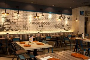 Black and White Typography Mural for Seafood Restaurant Decoration