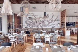 Black and White Mural for Seafood Restaurant Decoration