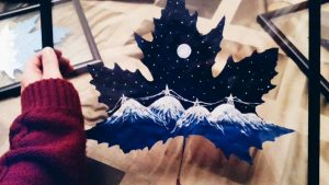 Mountain Painting on Leaf