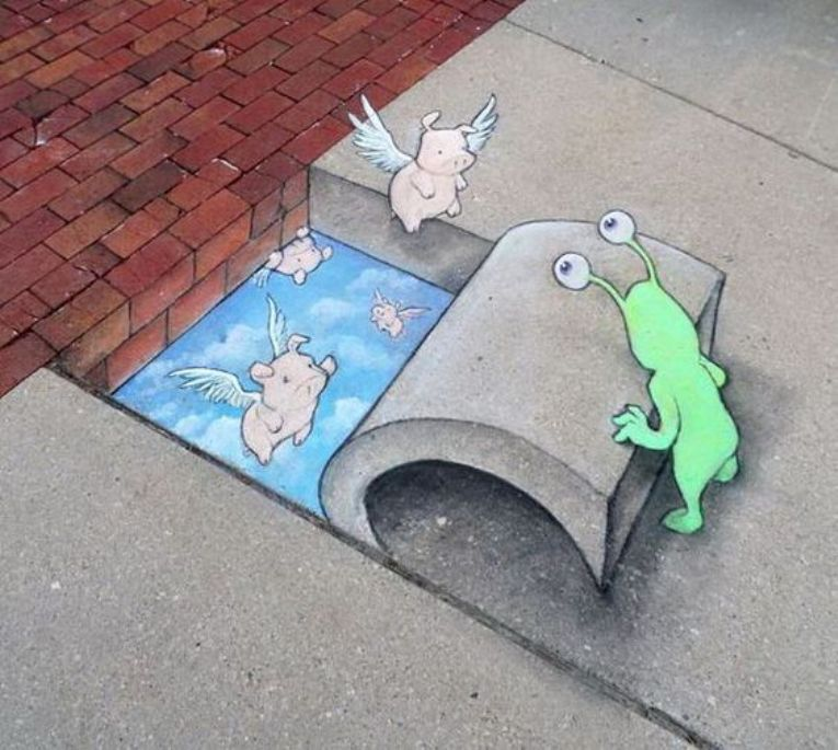 David Zinn Creates 3D Arts on Street, and the Result is Really Cute!