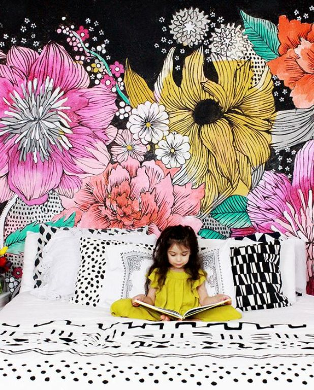 Flower Mural, Create a Comfortable and Nice Room for Child