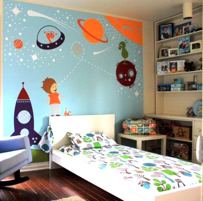 Space Mural for Kids Who Want to be an Astronaut