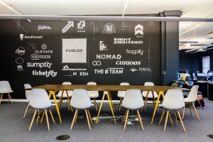 mural tipografi untuk coworking space