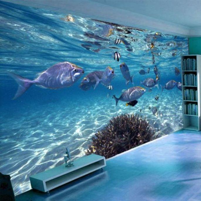 wallpaper underwater untuk ruang keluarga