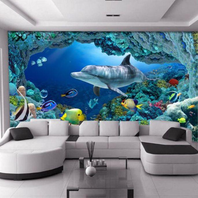 wallpaper underwater untuk ruang tamu