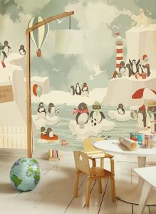 mural pinguin