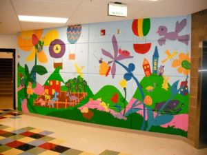mural untuk ruang kelas yang lucu