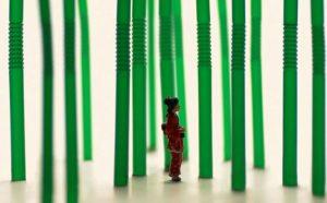 diorama hutan bambu