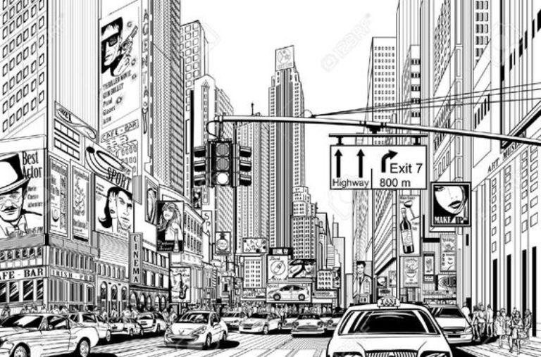 mural hitam putih city landscape