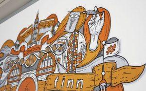 mural kantor nuansa orange