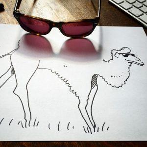 fun ilustrasi onta dari bayangan kacamata