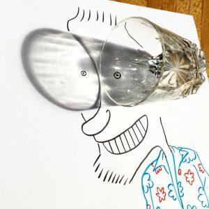 fun ilustrasi mata lucu dari bayangan gelas