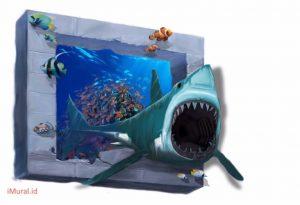 cara membuat 3d trick art hiu