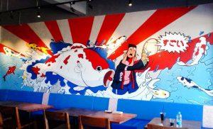 mural untuk restoran jepang sushi hachimaki
