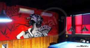 mural untuk restoran jepang ichibiru billiard