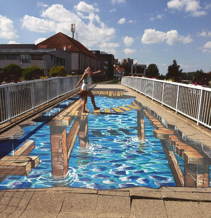 lukisan 3 dimensi lantai jembatan rusak