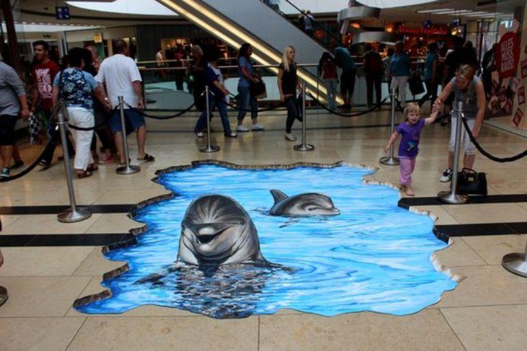 lukisan 3 dimensi lantai lumba-lumba