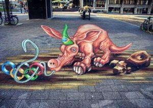 lukisan 3 dimensi lantai street art