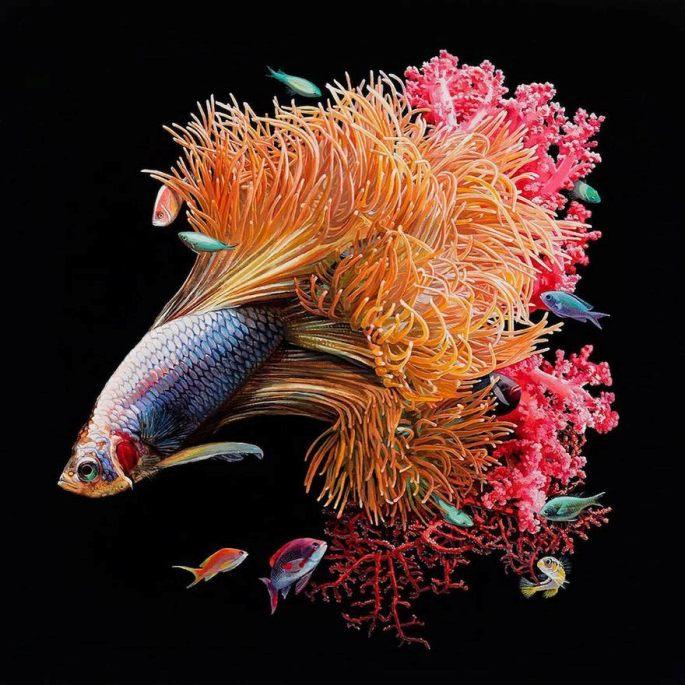 lukisan hyperrealistic ikan