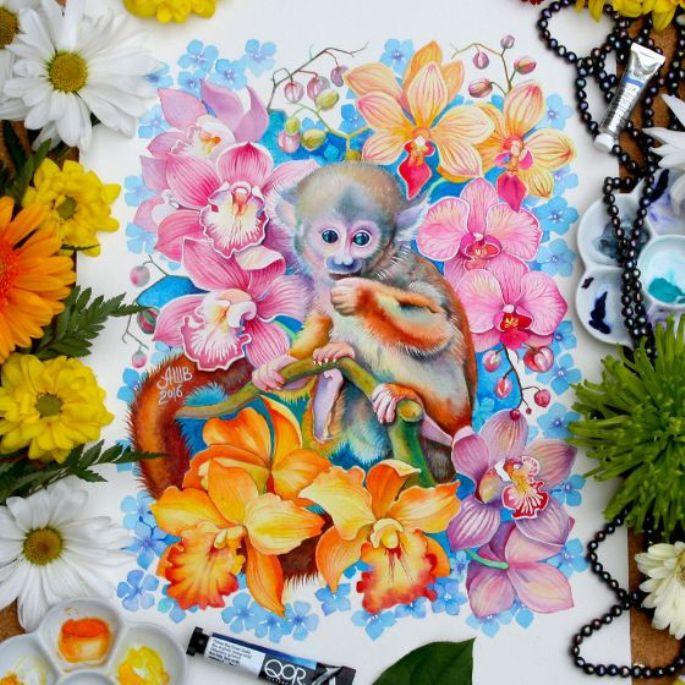 lukisan hewan monyet