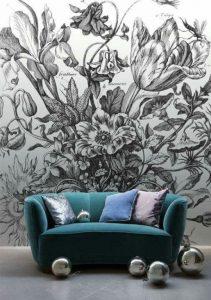 mural hitam putih bunga