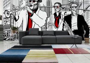 mural hitam putih dengan aksen merah