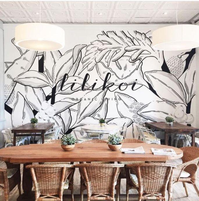 mural hitam putih floral