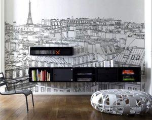 mural hitam putih landscape kota paris