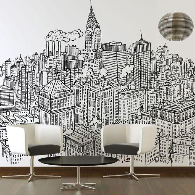 mural hitam putih untuk ruang tamu