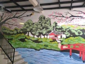 mural untuk restoran jepang nabe shabu