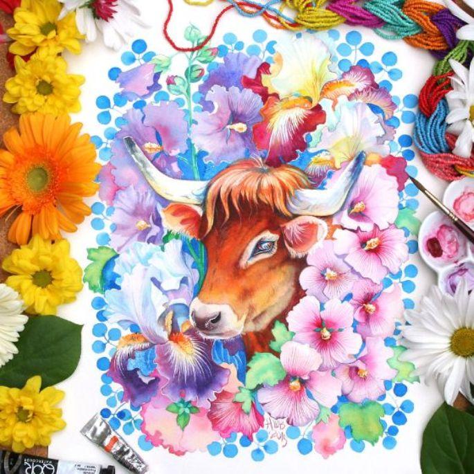 lukisan hewan lembu