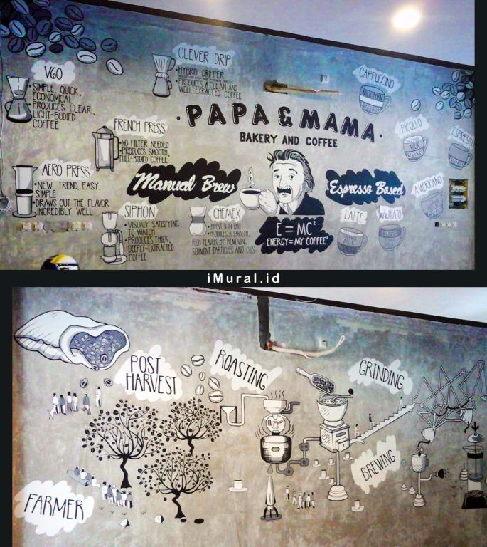 mural hitam putih di papa mama cafe