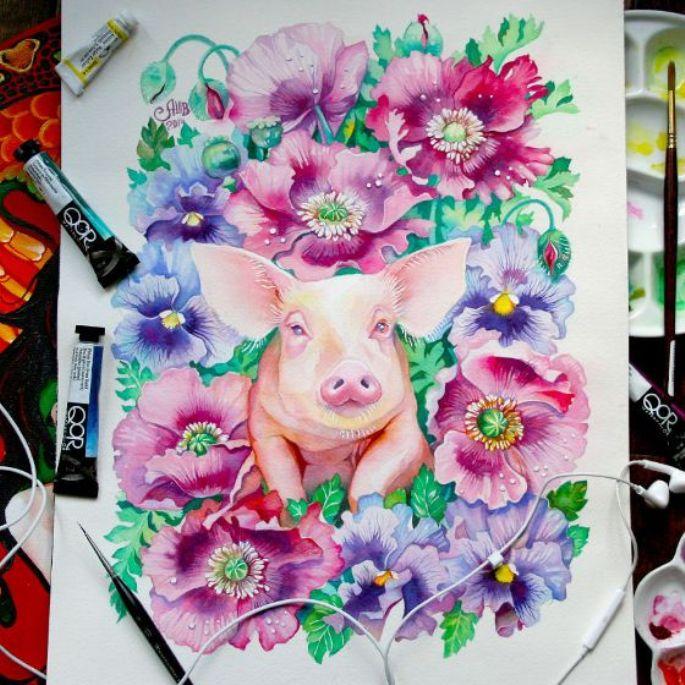 lukisan hewan babi