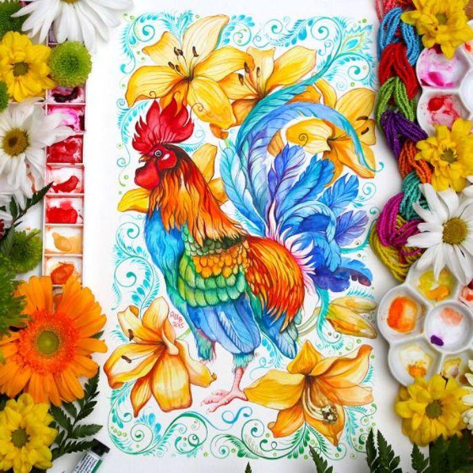lukisan hewan ayam