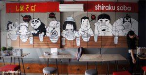 mural untuk restoran jepang shiraku soba