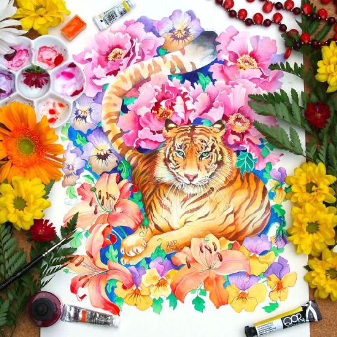 lukisan hewan harimau