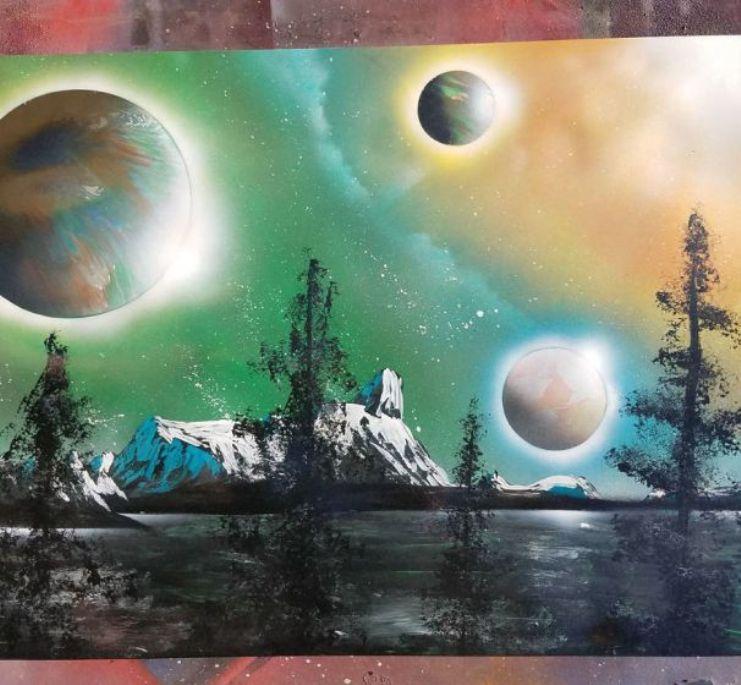 lukisan dengan cat semprot 2