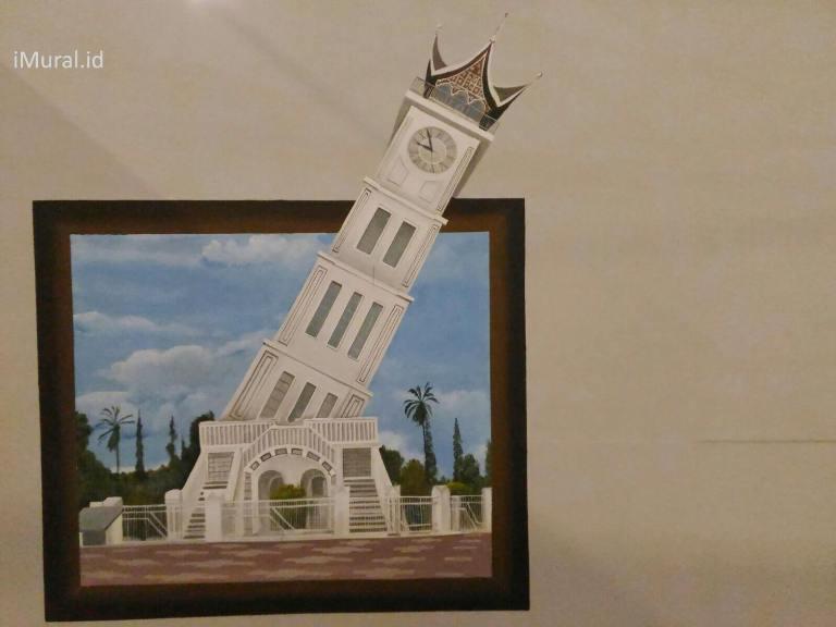 lukisan dinding 3d jam gadang