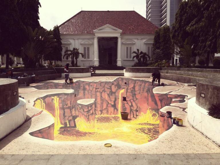 lukisan dinding 3d kebudayaan indonesia