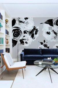mural hitam putih dengan motif bunga 8